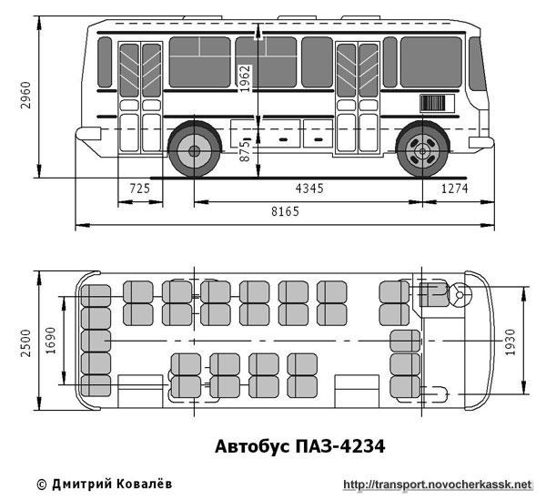 Чертеж автобуса ПАЗ-4234.